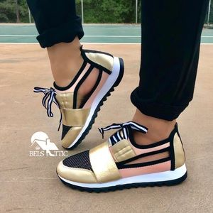 Shoes - Trendy Gold and pink Mesh side cutout Sneakers